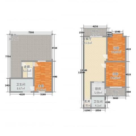 江畔首府3室1厅2卫1厨150.11㎡户型图