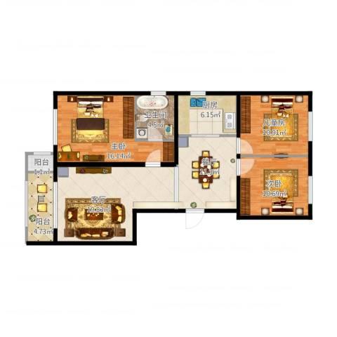 乐亭县水韵名居12号楼4单元902室3室2厅1卫1厨119.00㎡户型图