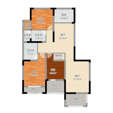 高新钦园3室2厅2卫1厨152.00㎡户型图