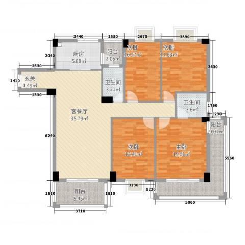 幸福港湾三期4室1厅2卫1厨162.00㎡户型图