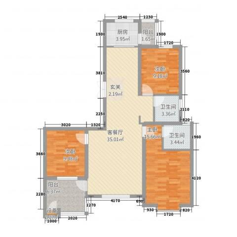 建邦・向�院3室1厅2卫1厨134.00㎡户型图
