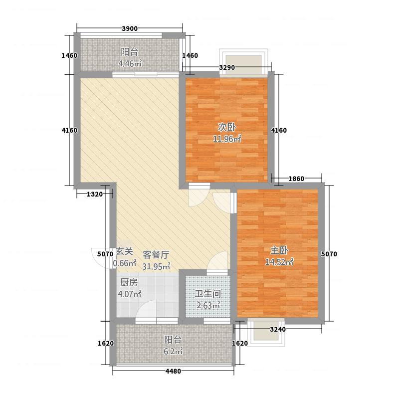 东安大厦88.75㎡B户型2室2厅1卫1厨