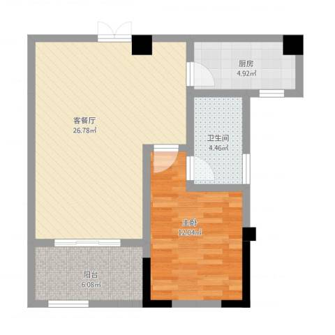 高新钦园1室1厅1卫1厨79.00㎡户型图