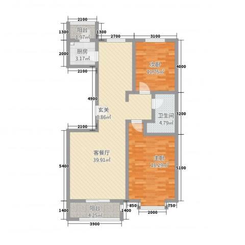 盘古新天地阳光花园2室1厅1卫1厨120.00㎡户型图