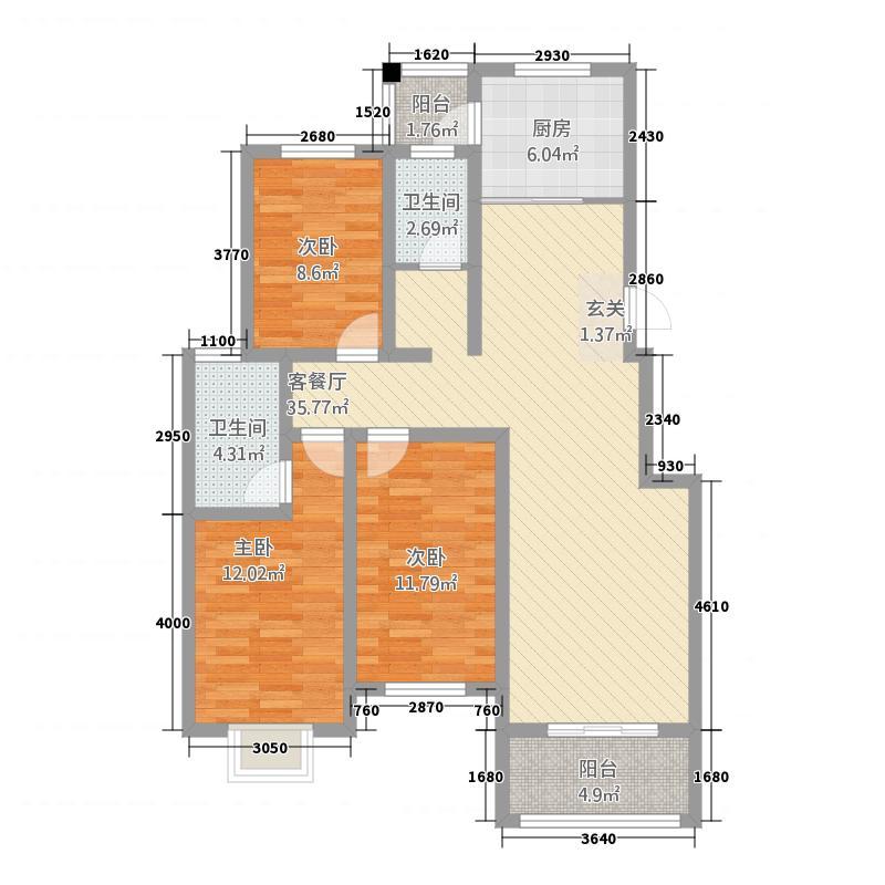 中联・四季花园128.00㎡户型3室2厅2卫1厨