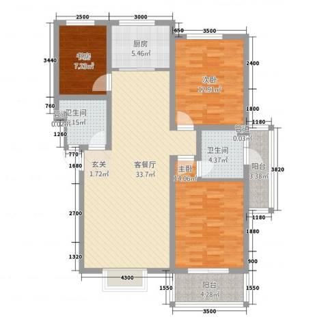 金鑫・盐湖城3室1厅2卫1厨103.35㎡户型图