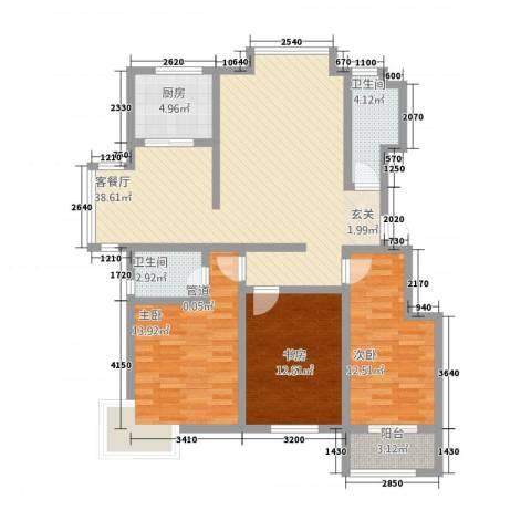盘古新天地阳光花园3室1厅2卫1厨135.00㎡户型图