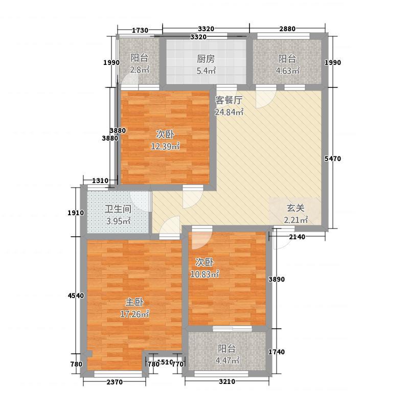 大正翡翠花园124.62㎡户型3室2厅2卫1厨