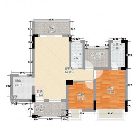 信德翡翠湾2室1厅2卫0厨86.00㎡户型图