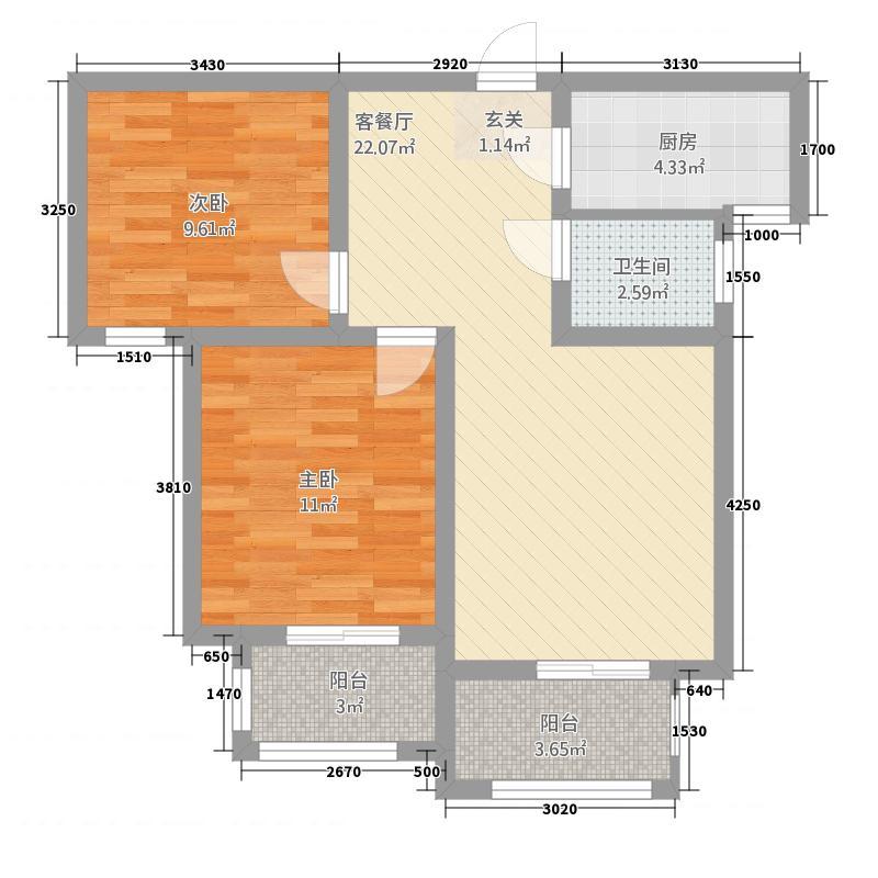 大正翡翠花园82.42㎡户型2室2厅1卫1厨