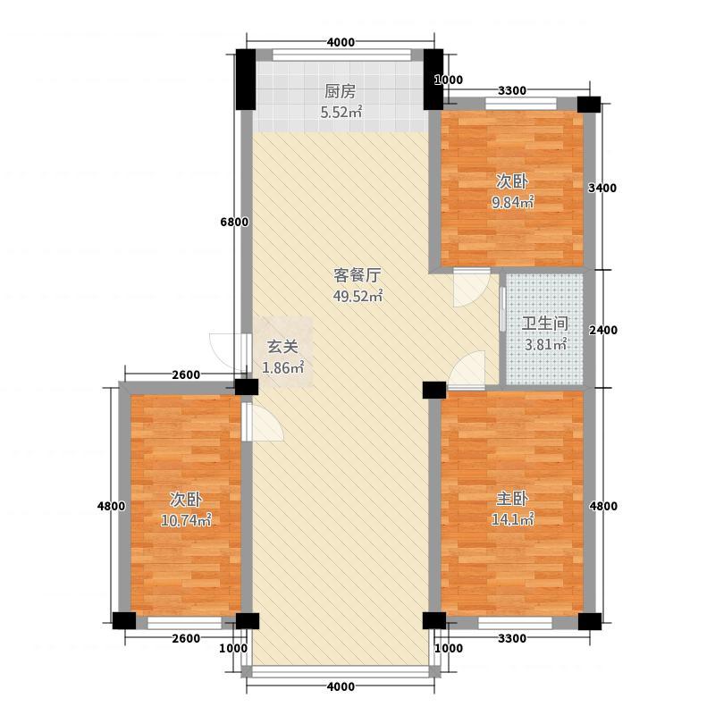 盛丰・清华苑11.00㎡M-110户型3室2厅