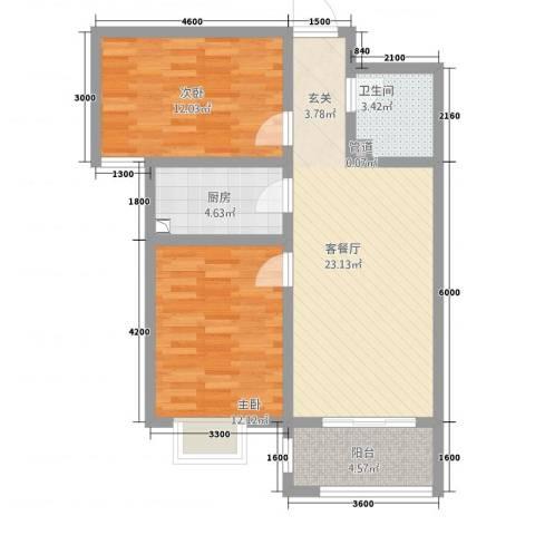 宫园20092室1厅1卫1厨70.00㎡户型图