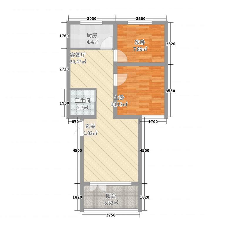 华城文远阁A座户型2室2厅1卫