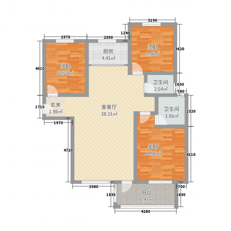金泰王朝128.70㎡D--户型3室2厅2卫1厨