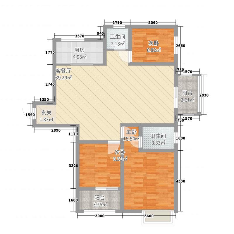 大正翡翠花园127.34㎡户型3室2厅2卫1厨