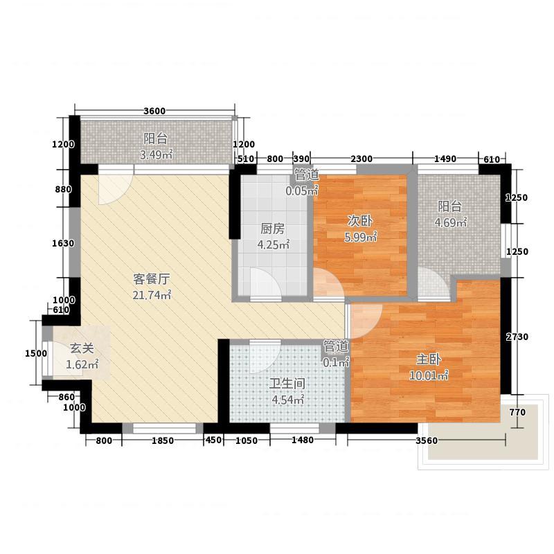 上谷郡2室1厅1卫1厨79.00㎡户型图