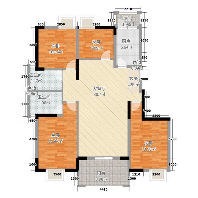 万隆花园143.11㎡E1-320-175户型4室2厅2卫1厨