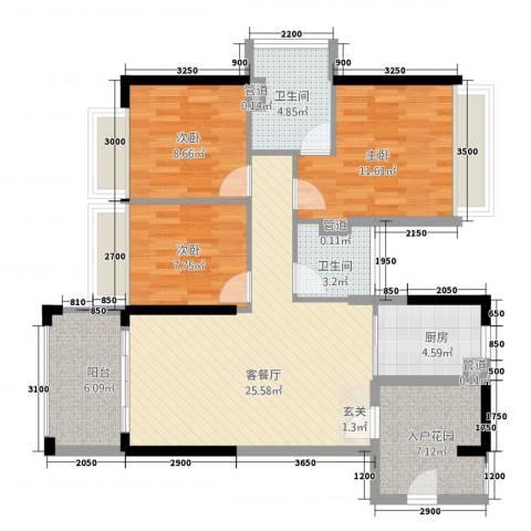 南国豪苑3室1厅2卫1厨91.30㎡户型图