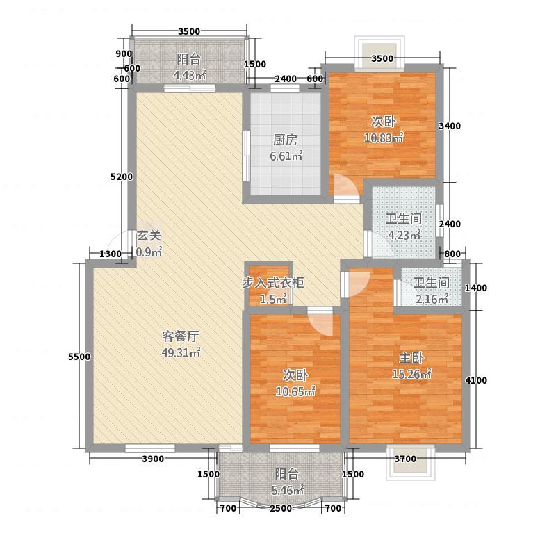 金樽花园户型3室2厅2卫1厨