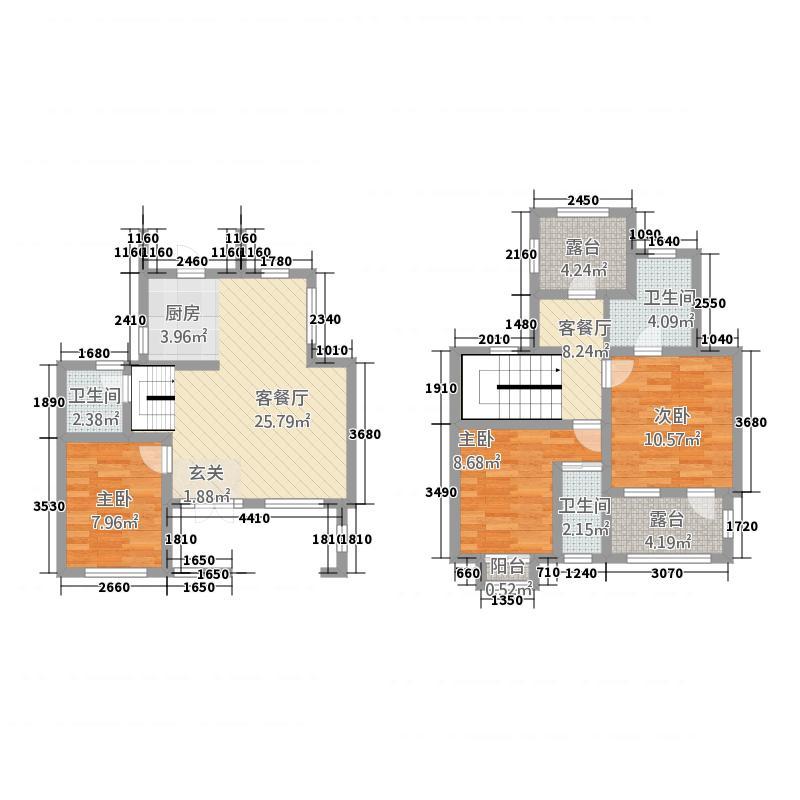 雨润・金桂园117.00㎡3C户型3室2厅2卫1厨