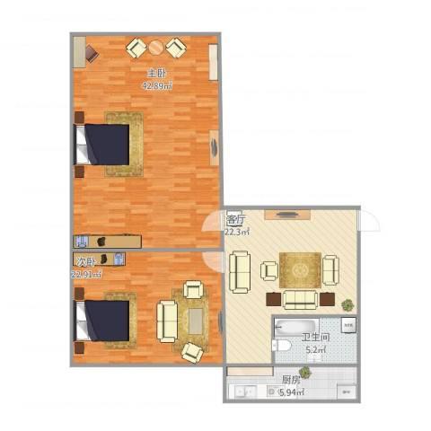 四中宿舍2室1厅1卫1厨131.00㎡户型图