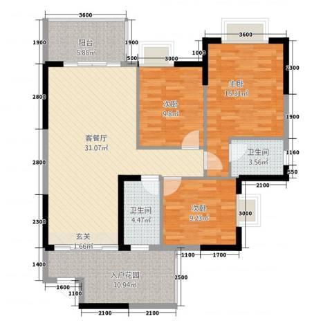 文泉西海岸3室1厅2卫0厨127.00㎡户型图