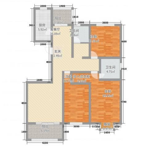 沣京名苑3室1厅2卫1厨139.00㎡户型图