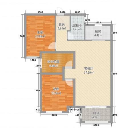 印象新城2室1厅1卫1厨85.79㎡户型图