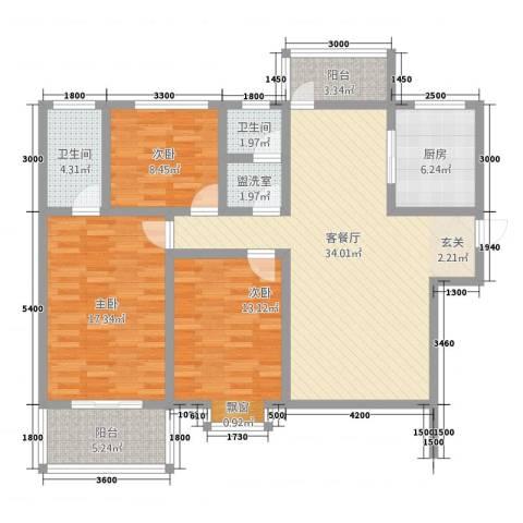 沣京名苑3室2厅2卫1厨132.00㎡户型图