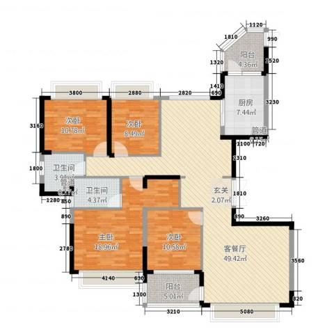 恒大城4室1厅2卫1厨175.00㎡户型图