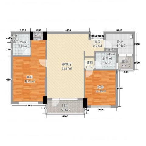 海楹台2室1厅2卫1厨114.00㎡户型图