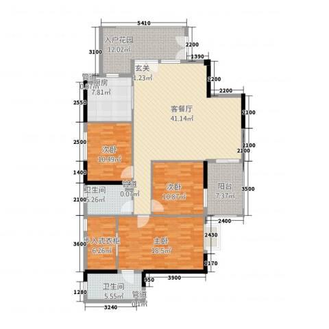 华林国际誉品3室1厅2卫1厨160.00㎡户型图