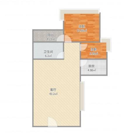 世邦一水岸2室1厅1卫1厨102.00㎡户型图