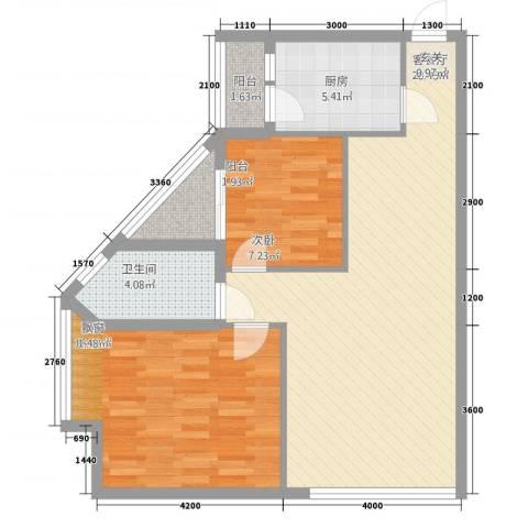 相国生活馆2室1厅1卫1厨88.00㎡户型图
