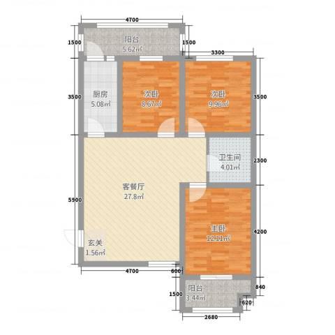 永康华庭3室1厅1卫1厨111.00㎡户型图