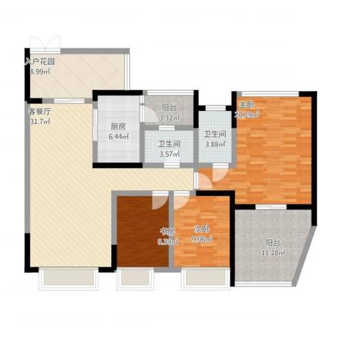 中海兰庭3室1厅2卫1厨155.00㎡户型图