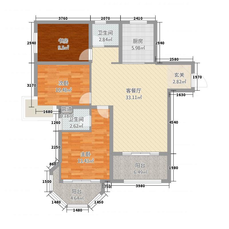 中南世纪锦城128.00㎡户型3室2厅2卫1厨