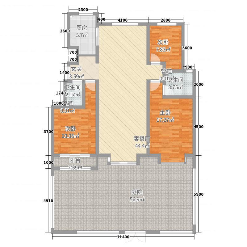 海天城11.65㎡A1户型3室2厅2卫1厨