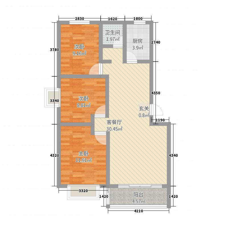 同和佳园13.00㎡户型3室2厅1卫1厨