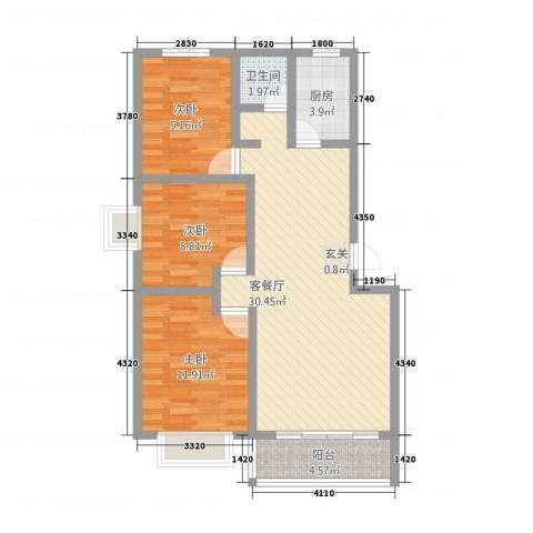 同和佳园3室1厅1卫1厨70.76㎡户型图