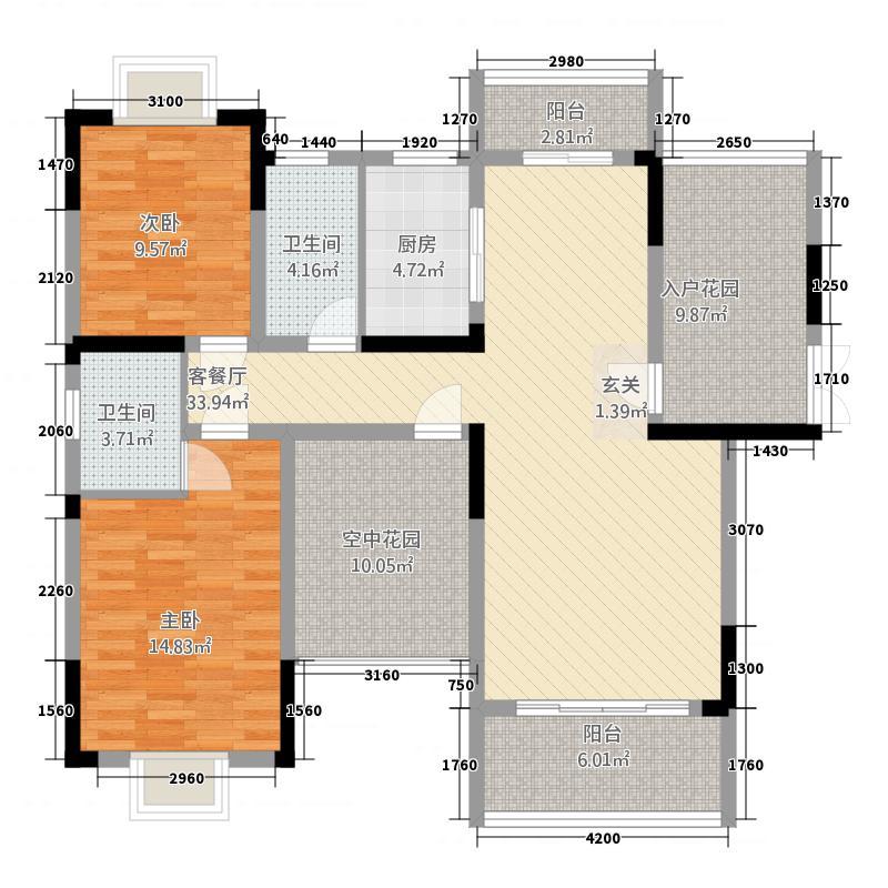 宜春紫金名门121.50㎡4户型2室2厅2卫1厨