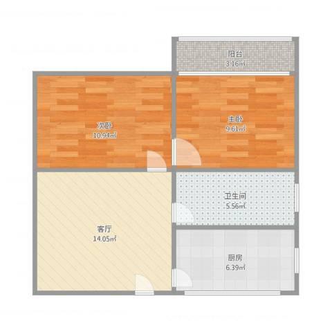 大营盘2室1厅1卫1厨68.00㎡户型图