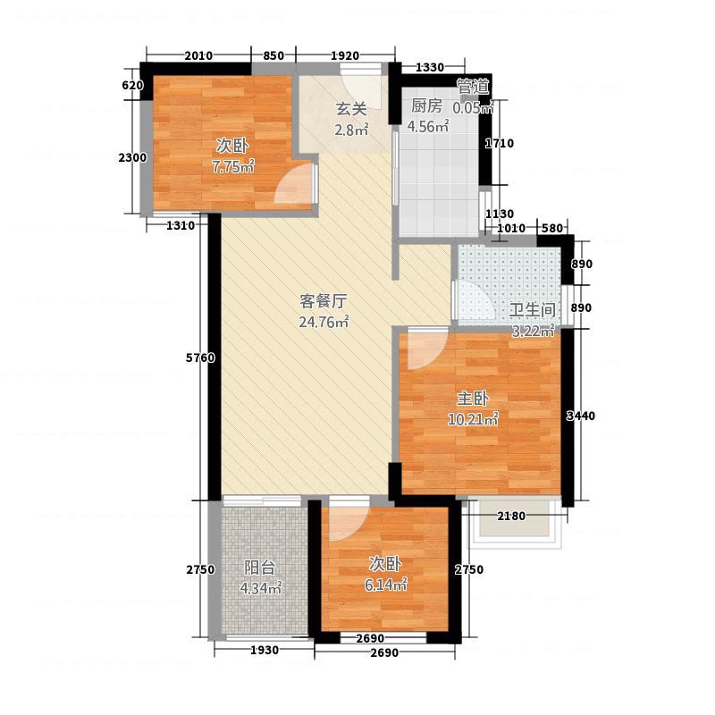 正弘中央公园3室1厅1卫1厨87.00㎡户型图