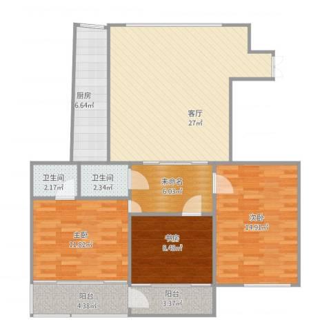 佳韵园3室1厅2卫1厨118.00㎡户型图