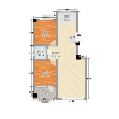 华洋・陶园2室1厅1卫0厨105.00㎡户型图