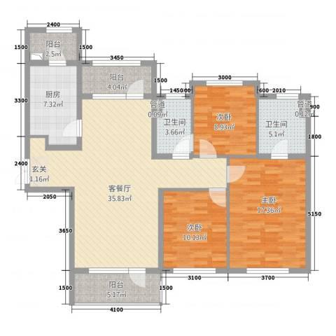 海楹台3室1厅2卫1厨143.00㎡户型图
