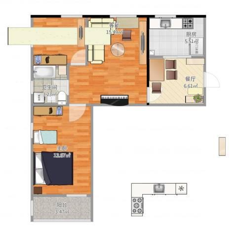 枣营北里2室2厅1卫1厨74.00㎡户型图