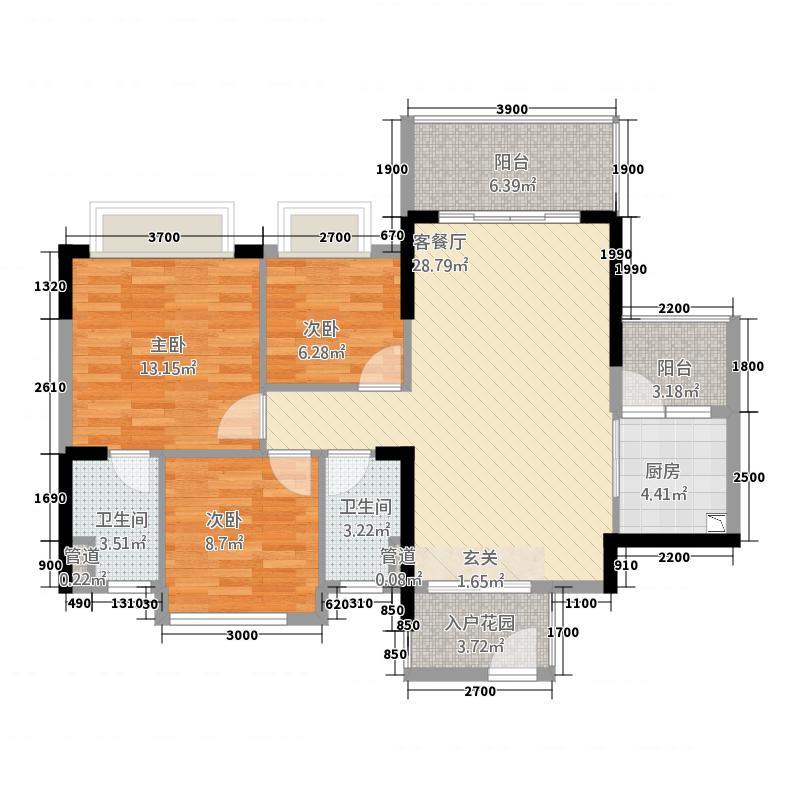 汇银江南富湾6.00㎡二期A3A4座01户型3室2厅2卫1厨