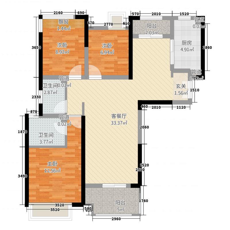 正弘中央公园二期5号地2、3、7、8号楼C2户型