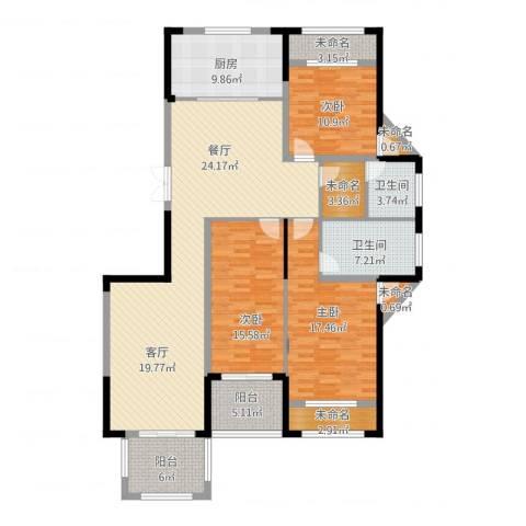 高新钦园3室1厅2卫1厨187.00㎡户型图